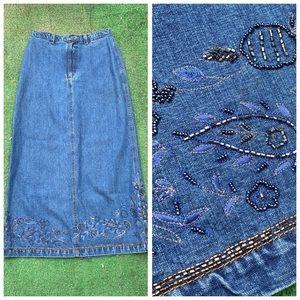 Chicos Blue Jean Denim Bead Embellished Midi Skirt